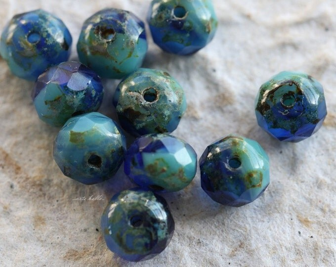 SUMMER SKIES No.4 .. NEW 10 Premium Picasso Czech Rondelle Glass Beads 5x7mm (5498-10)