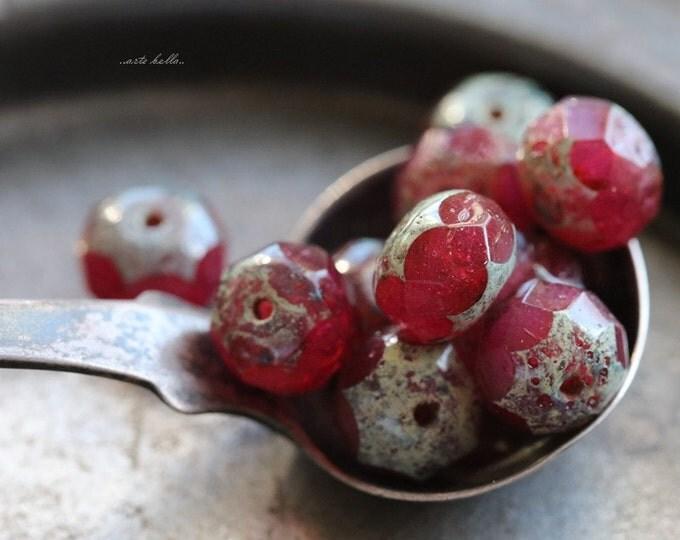 FUCHSIA .. 10 Premium Picasso Czech Glass Rondelle Beads 6x8-9mm (5539-10)