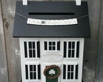 2017 Shamrock Wedding Card Box, Wedding Card House, Wedding Card Holder, Wedding Card Box with Slot, Personalized Custom Colors