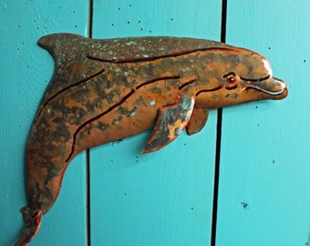 Bottlenose Dolphin - copper metal porpoise marine art sculpture - wall hanging - with verdigris blue-green and naturally-aged patinas - OOAK