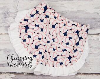 Baseball Ruffled Shorts, Girls Summer Shorts, Toddler Girl Baseball Shorts, Baseball Sister Shorts by Charming Necessities - Navy