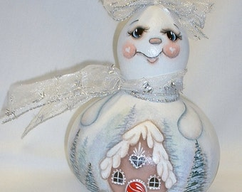 Snowman Gourd - Snowgirl Gourd with  Gingerbread House - Hand Painted Gourd