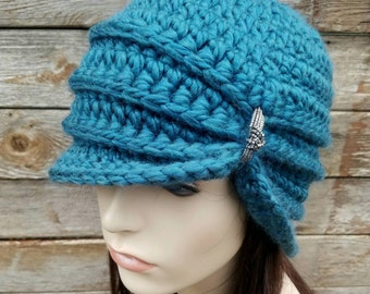 Vintage Inspired Cloche Hat with Glass Beading, Flapper Hat, Women's Hat Teal Hat Wool Hat 1920s Style Hat Womens Winter Hat, MADE TO ORDER