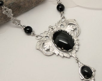 """Elven Necklace """"Black Elf"""" Headband glass cabochons and Onyx beads"""