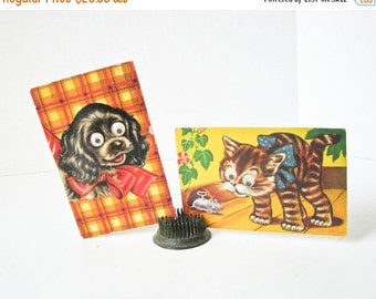Sale 2 Vintage Postcards, Dog Cat, Google Eyes, Squeaker Post Card