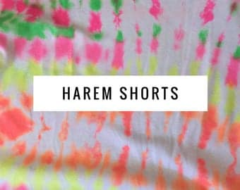 Baby Harem Shorts Neon Tie Dye: Etsy kid's fashion, toddler harem shorts, trendy kid's clothing, drop crotch shorts, cool kid clothes.