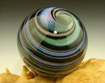 Art Glass Marble Vortex Spiral Orb Art Fibonacci Golden Mean Green Lavender Optical Illusion (ready to ship)