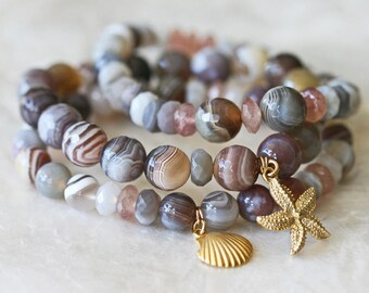 Stretch Bracelet, Botswana Agate Natural Stone Bracelet, Ocean Jewelry, Star Fish Charm, Shell Charm, Stacking Bracelets, Beaded Bracelet