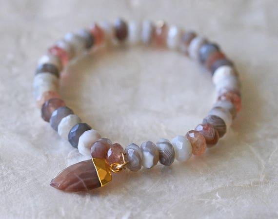 Agate Bracelet, Moonstone Bracelet, Moonstone Charm, Botswana Agate Bracelet, Star Quartz Bracelet, Pink and Grey Bracelet, Stacked Bracelet