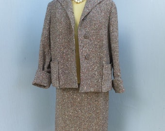 Vintage 1950s 2 pc. Suit, Jaunty Juniors, Brown Tweed Suit, Winter Suit, Pencil Skirt and Matching Jacket, Mad Men Suit, ex Large