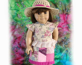 American Girl Doll Ensemble 18 Inch Doll Skirt Top and Hat Am Girl Doll Two Piece Dress and Hat Doll AG Doll Hat Pink Patchwork Doll Skirt