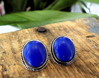 Pair Of Lapis And Silver Post Back Earrings / Polished Laspis Stone And Silver Earrings