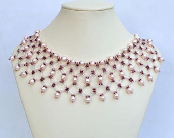 Pink netted collar necklace Beadwork necklace with pink freshwater pearls Netting colar with real pearls Pearls collar necklace N321