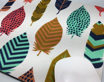 Buy 2 FREE SHIPPING Special!!   Mouse Pad, Computer Mouse Pad, Fabric Mousepad    Jewel Tone Feathers