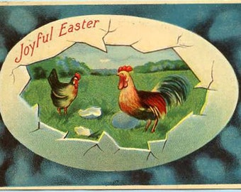Vintage Joyful Easter Greetings postcard, Rooster, Hen in  big egg antique postcard