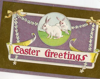 Easter Vintage postcard, Happy Easter Bunny Rabbits, daisies chain Post Card, antique Easter post card