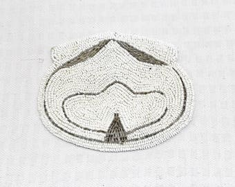 1930s Vintage Art Deco Beaded Clutch Change Purse White and Silver