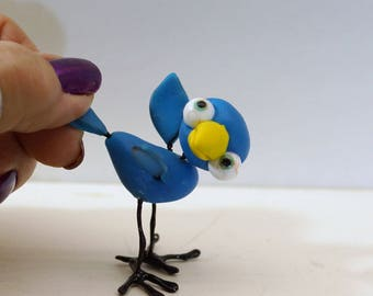 ooak pose-able 2 inch baby blue bird (2 ) art doll by DinkyDarlings Blythe pet fairy friend