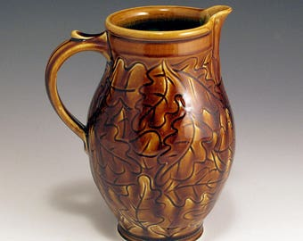 64 oz Porcelain Hand-Thrown, Carved Oak Leaf Pitcher w/Amber Glaze
