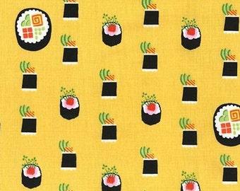 Two (2) Yards - Maki Sushi Fabric Michael Miller DC7464-BAMB-D Bamboo Yellow