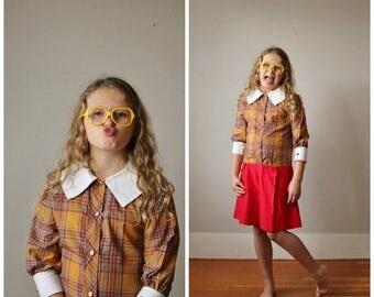 25% OFF SALE NOS, 1950s Plaid School Girl Dress >>> Girls Size 10 to Slim 12