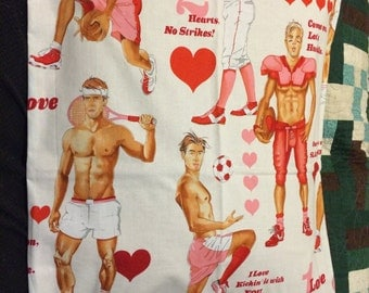 Pillow Case, decorative pillow, throw pillow, Standard Size, Alexander Henry, Game of Love, muscle men