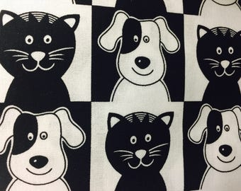 "Black White Dogs Cats Valance Topper  New Window Curtain Treatment Cotton Fabric 42""W x 15""L"