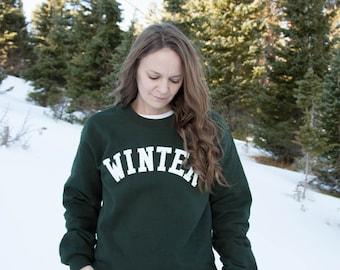 Winter Lettering Forest Green Crewneck Sweatshirt / WINTER