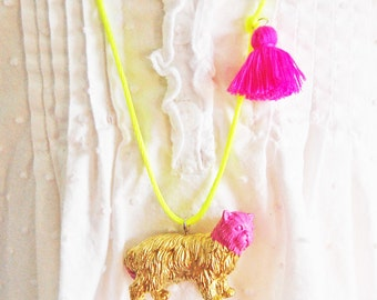 Cat Necklace. Kid Cat Necklace. Tassel Necklace. Gifts for Cat Lovers. Cat Jewelry. Girls Cat Necklace. Gifts for Kids. Boho Necklace.