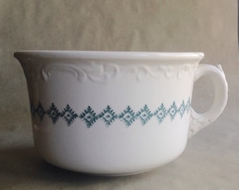 Antique Ironstone Chamber Pot with Green Diamond Design Made by W. M. Co. English Pottery