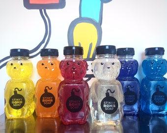 Hand Soap, Shower Soap Honey Bear Bold Colors Scented Stinkybomb Soap