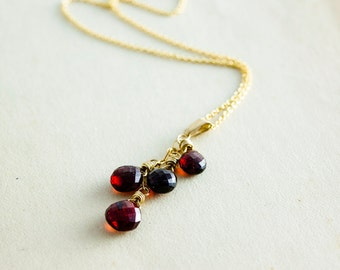 Garnet Necklace, Garnet Pendant, January Birthstone, Wire Wrapped, Garnet Jewelry, Gemstone Necklace, Gemstone Jewelry, Gold Necklace,