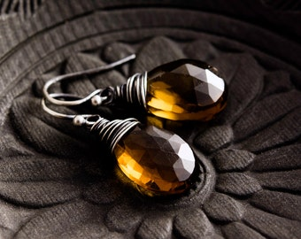 Whiskey Quartz, Quartz Earrings, Wire Wrapped, Drop Earrings, Sterling Silver, Caramel Brown, Scotch, Fashion Jewelry, Dangle Earrings