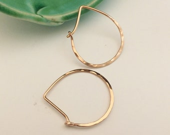 Rose Gold Hammered Teardrop Hoops - Small H01RG-S Modern Hoops, Pink Gold, Minimalist - wire jewelry by cristysjewelry on etsy