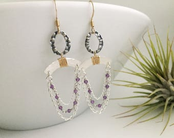 Mixed Metal & Amethyst Chain Chandelier Earrings (E451SG-AM) - Sterling Silver, Gold Filled, Gemstone - Handcrafted by cristysjewelry