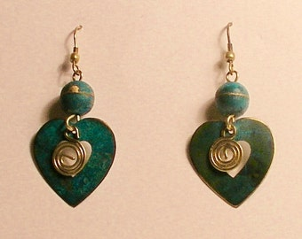 Turquoise blue patina copper earrings