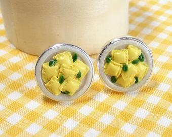 Ravioli Dinner Cufflinks - Italian Food Cuff links - Miniature Food Art Jewelry Collectable by Schickie Mickie 100% Handmade
