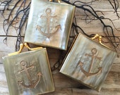 Anchor Etched Abalone Mother of Pearl and Brass Vintage Pill Boxes Trinket Case
