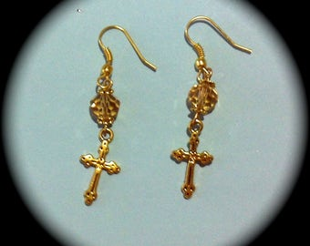 Gold Czech glass crystals and Cross Long Dangle Fashion Earrings for Every Day Wear boho gypsy native  gift year round southwestern