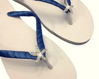 Navy Blue Bridesmaid Flip Flops - Bridal Flip Flops - Starfish Flip Flops - Navy Blue Wedding - Beach Wedding - Nautical Wedding - 30 colors
