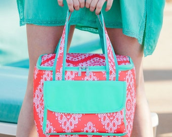 Coral Cove Insulated Cooler-Coral Lunch Bag-Personalized-Monogram-Cooler Bag-Cold Bag