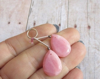 25% Off Sale Pink Peruvian Opal Briolette Beads, Matched Pair, Natural Gemstone Slice