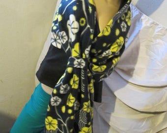 Black Floral Print Fleece Wrap
