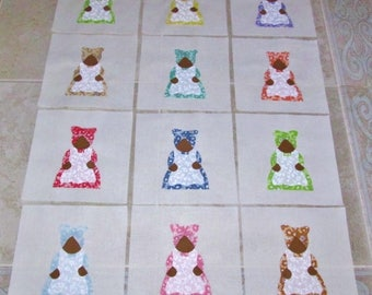 "Set of 12 Aunt Jemima in Vintage Style 1930's Fabric  6"" x 6""  Cotton Quilt Blocks"