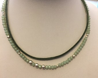 Pale Green Suede/Beaded Choker