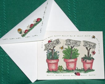 NOTCARDS----Frogs with Lavendar, Sage and Thyme in Fabric Applique