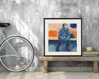 Art Oil Painting New York City Subway Rider Woman Blue Coat  PRINT