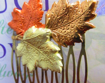 Maple Leaf Comb Golden leaf decorative hair comb Gorgeous enameled maple leaves