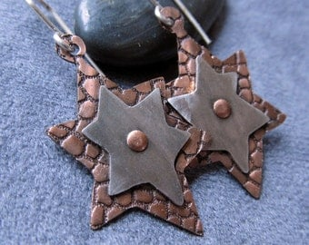 Handcrafted Copper and Sterling Silver Star Earrings