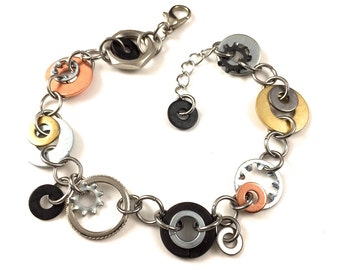 Steampunk Chain Bracelet Mixed Metal Hardware Jewelry Industrial Brass, Copper, Steel, and Black Washers, Gifts under 25